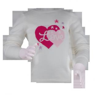 Фото: Свитер с крупным принтом сердца (артикул O 20112-milk) - изображение 2