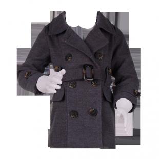 Стильное серое пальто на крупных пуговицах