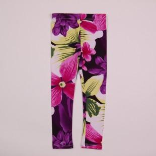 Фото: Приятные к телу лосины с крупными цветами и листьями (артикул O 60051-dark flowers) - изображение 3