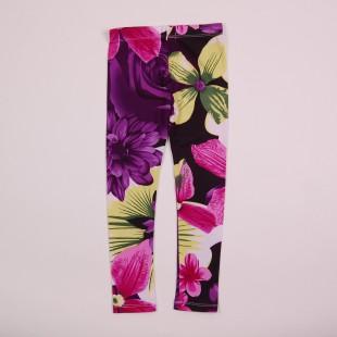 Фото: Приятные к телу лосины с крупными цветами и листьями (артикул O 60051-dark flowers) - изображение 4