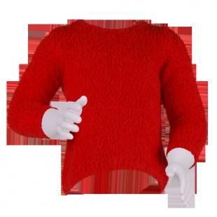 Свитер с удлиненной спинкой красного цвета