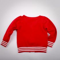 Фото: Красная кофта с манжетами в полоску (артикул O 20033-red) - изображение 4