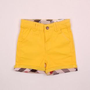 Фото: Желтые шортики с клетчатыми манжетами (артикул B 60011-yellow) - изображение 3