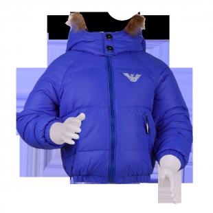 Пуховик голубого цвета