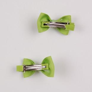 Мини-бантик зеленого цвета с жемчужинами