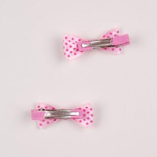 Заколка-бантик в розовый горошек