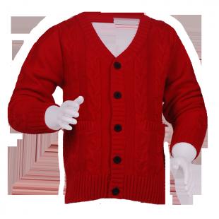 Фото: Красный кардиган с вязкой косами для детей (артикул B 20007-red) - изображение 2