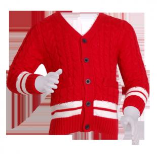 Красная кофта с вязкой косами
