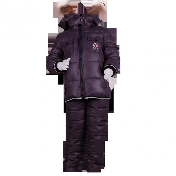 Фото: Зимний костюм с натуральным мехом (артикул O 70050-grey)