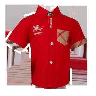 . Красная рубашка с карманом в клетку