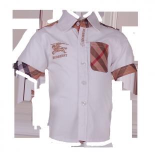 Рубашка белого цвета с карманом в клетку
