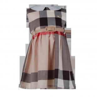 Детское платье с поясом на талии и воротничком