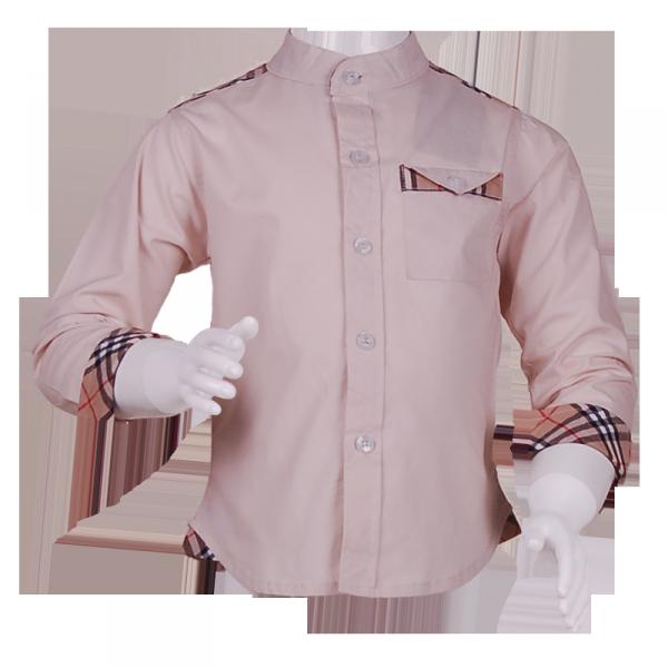 Фото: Рубашка с вставками в клетку (артикул B 30050-beige)