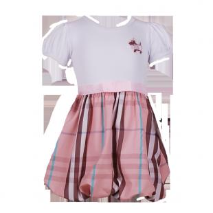 . Платье с юбкой в светло-розовую клетку
