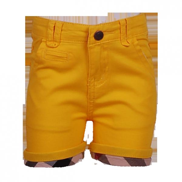 Фото: Желтые шортики с клетчатыми манжетами (артикул B 60011-yellow)