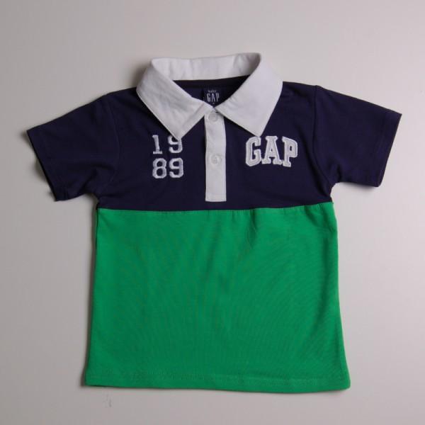 Фото: Футболка фирменная с воротником и логотипом (артикул Gp 40031-blue-green)