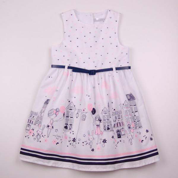 Фото: Белое платье для девочки с модным рисунком (артикул O 50326-white)