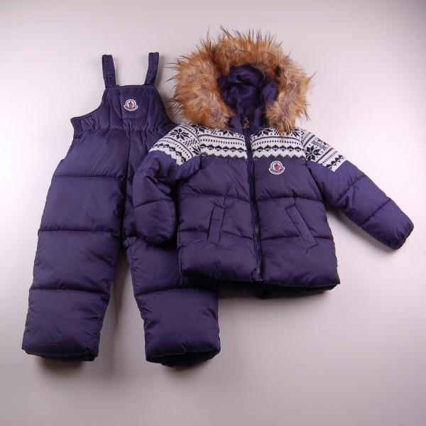 Фото: Зимний костюм с красивой вязаной вставкой (артикул O 70033-deep blue)