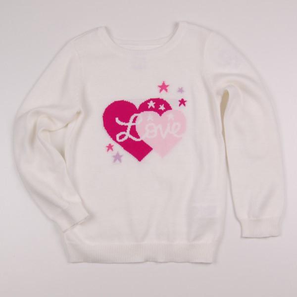 Фото: Свитер с крупным принтом сердца (артикул O 20112-milk)