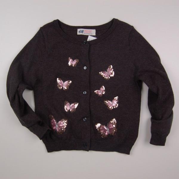 Фото: Кардиган  с бабочками для девочки (артикул O 20115-dark grey)