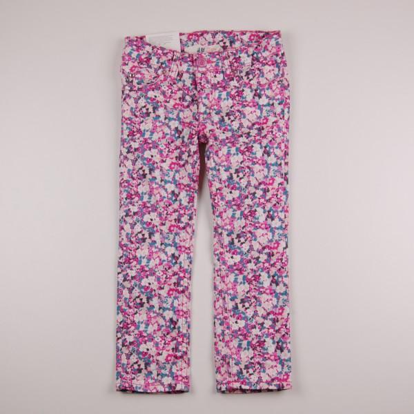 Фото: Цветные детские джинсы с принтом (артикул O 60115-pink flowers)