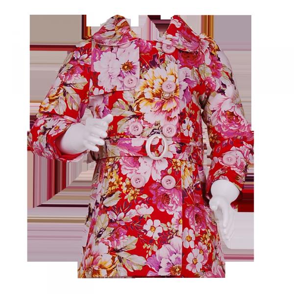 Фото: Плащ для девочки с цветочным рисунком (артикул Gp 10006-red)