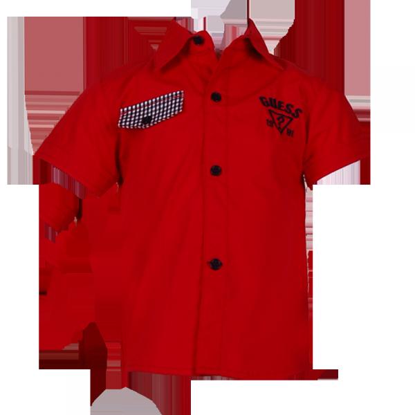 Фото: Рубашка с карманом клетку (артикул Gs 30017-red)