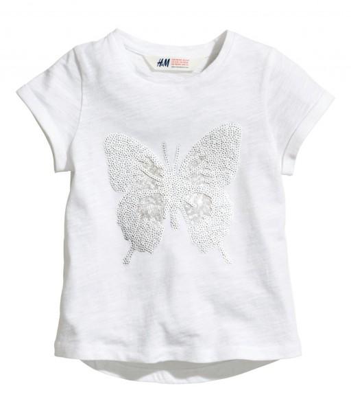 Фото: Белая футболка с принтом бабочки из пайеток (артикул O 40124-white)
