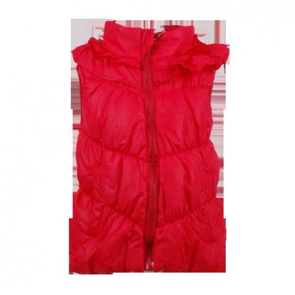 Фото: Красная дутая жилетка с рюшами (артикул O 10057-red)