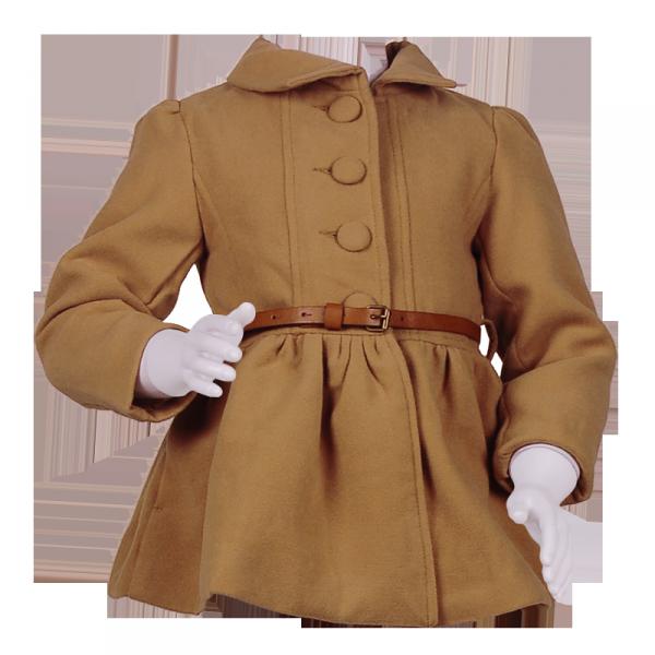 Фото: Пальто с завышенной талией и большими пуговицами (артикул O 10103-brown)