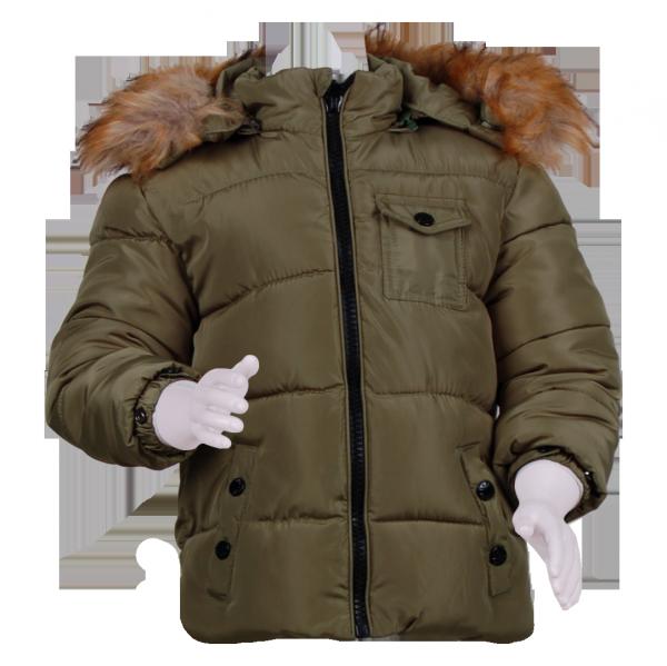 Фото: Зимняя куртка с меховым капюшоном (артикул O 10178-khaki)