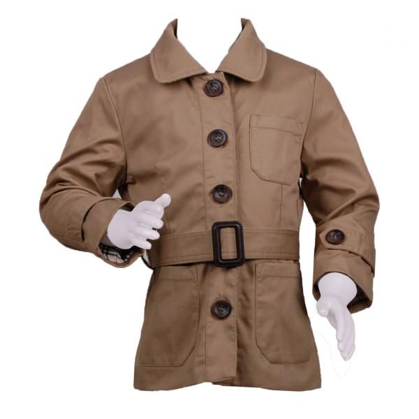 Фото: Плащ на пуговицах с накладными карманами (артикул O 10212-beige)