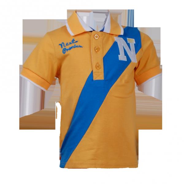 Фото: Фирменная футболка для мальчика с синей полосой (артикул O 40106-yellow-blue)