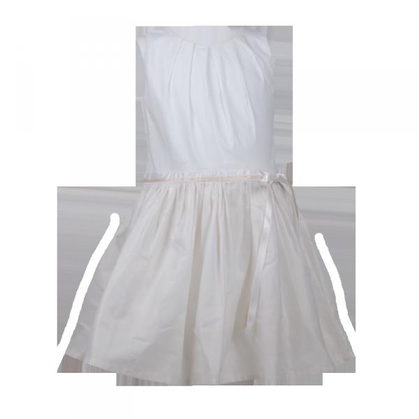 Фото: Белое платье с золотистым отливом на юбке (артикул O 50230-white)