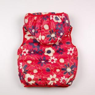 Фото: Красный жилет для девочки с цветочным принтом (артикул Gp 10008-red) - изображение 4