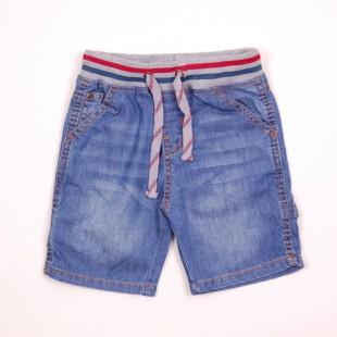 Фото: Шорты джинсовые с трикотажной резинкой и шнурком  (артикул O 60053-jeans) - изображение 3