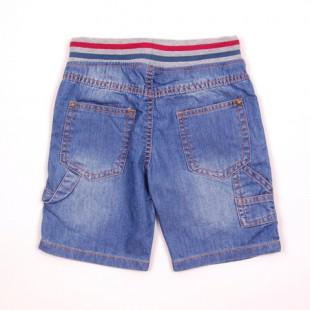 Фото: Шорты джинсовые с трикотажной резинкой и шнурком  (артикул O 60053-jeans) - изображение 4