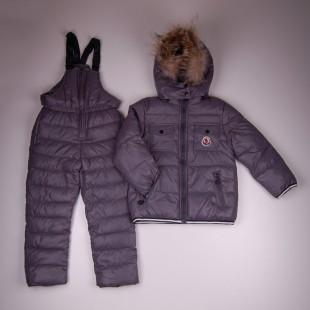 Фото: Зимний костюм с натуральным мехом (артикул O 70050-grey) - изображение 3