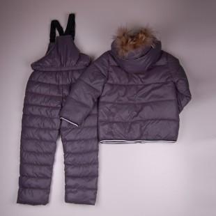 Фото: Зимний костюм с натуральным мехом (артикул O 70050-grey) - изображение 4