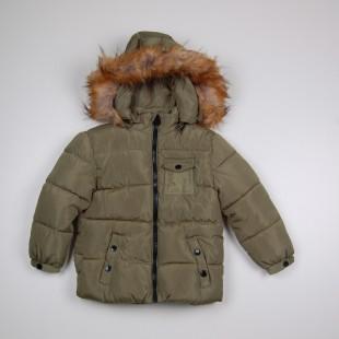 Фото: Зимняя куртка с меховым капюшоном (артикул O 10178-khaki) - изображение 3