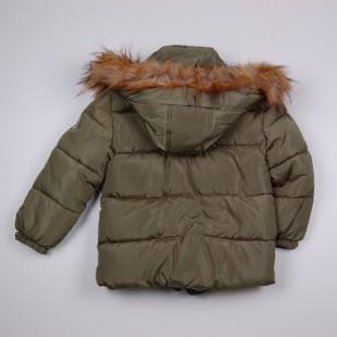 Фото: Зимняя куртка с меховым капюшоном (артикул O 10178-khaki) - изображение 4
