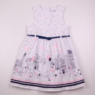 Фото: Белое платье для девочки с модным рисунком (артикул O 50326-white) - изображение 3