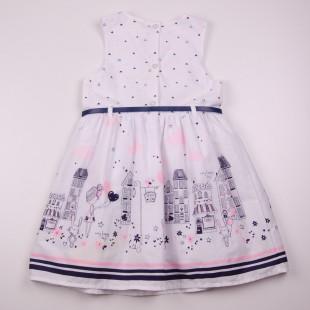Фото: Белое платье для девочки с модным рисунком (артикул O 50326-white) - изображение 4