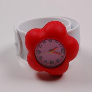 Часы  белые с красным цветком