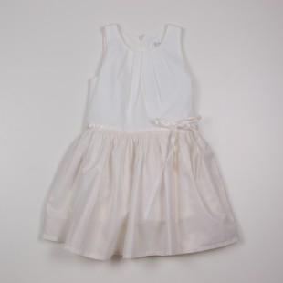 Фото: Белое платье с золотистым отливом на юбке (артикул O 50230-white) - изображение 3