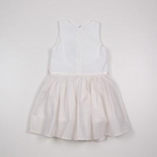 Фото: Белое платье с золотистым отливом на юбке (артикул O 50230-white) - изображение 4