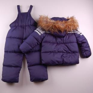 Фото: Зимний костюм с красивой вязаной вставкой (артикул O 70033-deep blue) - изображение 4