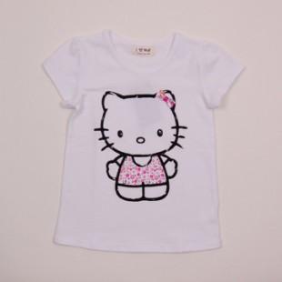Фото: Футболкас принтом Hello Kitty белая (артикул O 40062-white) - изображение 3