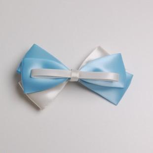 Заколка-бант белая с голубым