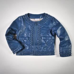 Фото: Куртка кожаная темно-синего цвета с плетением (артикул O 10072-deep blue) - изображение 3